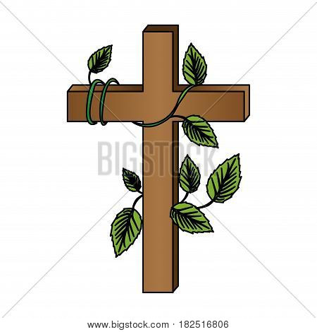 white background with colorful wooden cross and creeper plant vector illustration