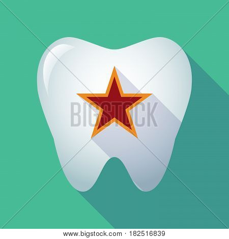 Long Shadow Tooth With  The Red Star Of Communism Icon