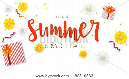 Summer sale ad banner. Top view. Gift box with red ribbon and bow, burning, lighted candle, with serpentine and confetti on white background. Template for online shopping.