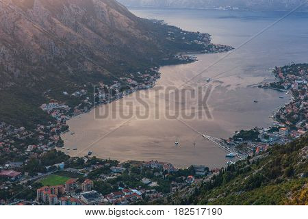 Bay of Kotor with bird's-eye view. The town of Kotor, Muo, Prcanj, Tivat. View of the mountains, sea, clouds