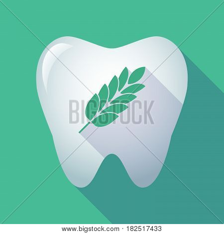 Long Shadow Tooth With  A Wheat Plant Icon