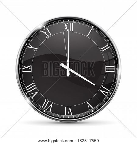 Clock. Roman numerals. Vector illustration isolated on white background