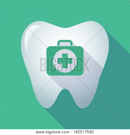 Long Shadow Tooth With  A First Aid Kit Icon