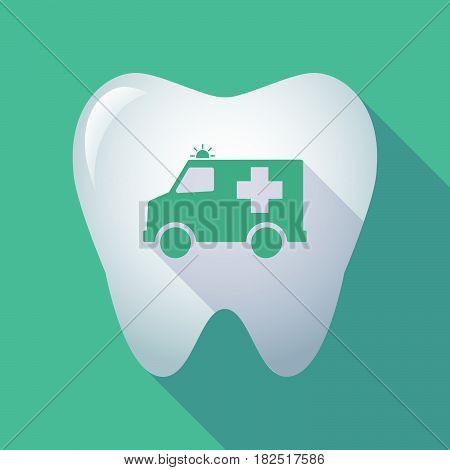 Long Shadow Tooth With  An Ambulance Icon