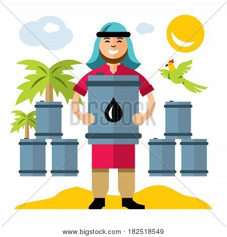 Oilman stores the barrels of fuel. Isolated on a white background