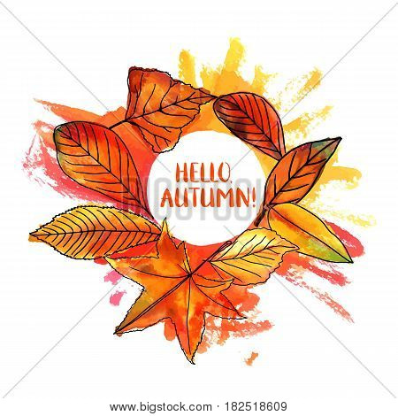 Hello, Autumn vector design with vibrant fall leaves, yellow and orange, on a hand painted watercolor texture. An artistic template for a card, flier, or invitation