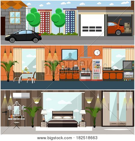 Vector set of house interior posters, banners. Kitchen, dining room, bedroom with furniture and household appliances. Home garage with car. Flat style design.