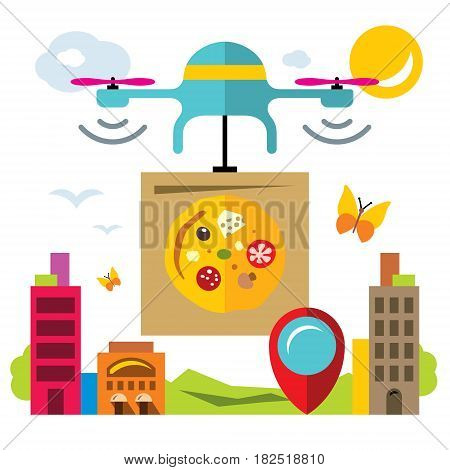 Copter carries a box of food in the city. Isolated on a white background