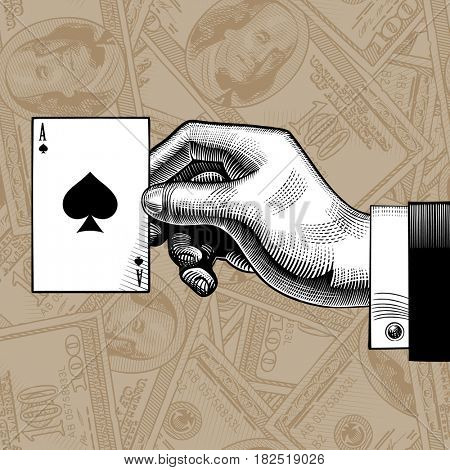 Hand with the ace of Spades playing card on the dollars bank notes seamless pattern background. Vintage engraving stylized drawing