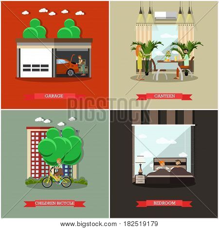 Vector set of house square posters. Garage, Canteen, Children bicycle and Bedroom flat style design elements.