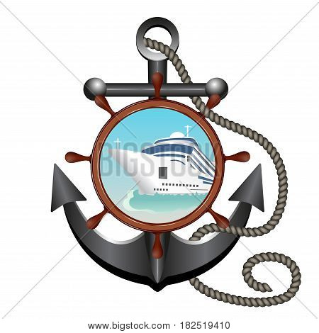 Anchor rope helm and porthole with the ship. Concept advertising sea travel. Vector illustration.