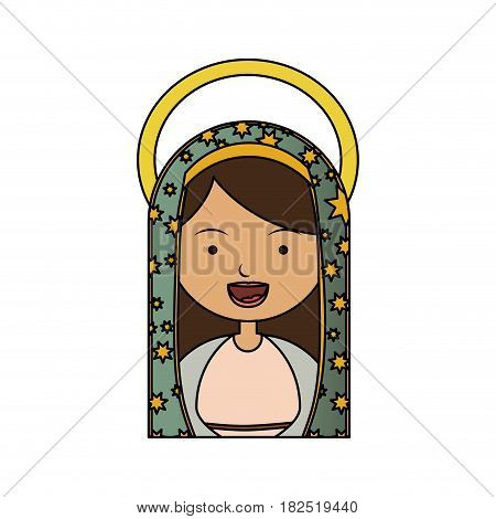 white background of colorful half body virgin of guadalupe with aura vector illustration