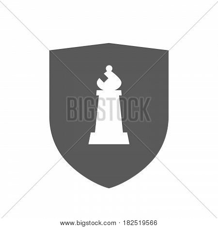 Isolated Shield With A Bishop    Chess Figure