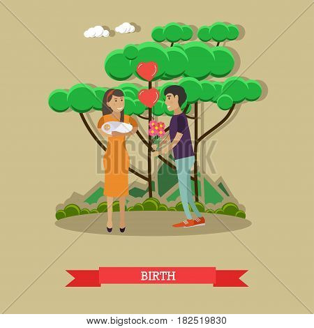 Vector illustration of happy father meeting with flowers his lovely wife holding newborn baby. Maternity hospital, baby birth flat style design element.