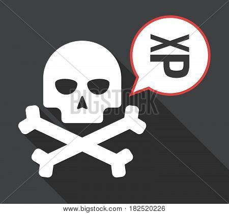 Long Shadow Skull With  A Tongue Sticking Text Face Emoticon