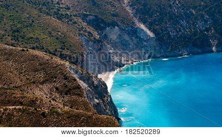 Cefalonia greece coast beach with turquoise sea