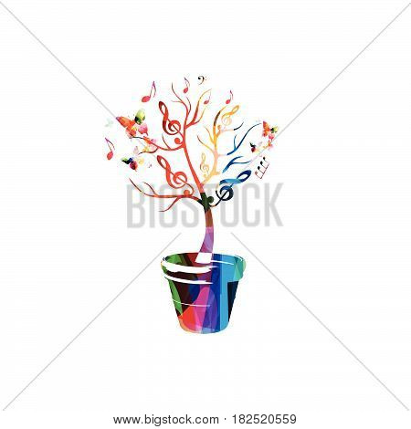 Music tree with notes background. Colorful music notes tree isolated vector illustration