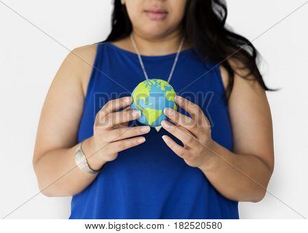 Chubby woman holding globe icon portrait