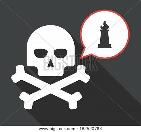 Long Shadow Skull With A Bishop    Chess Figure