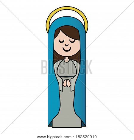 white background of colorful virgin with blue mantle and aura vector illustration