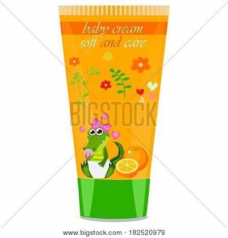 High quality original trendy vector orange Baby cream tube with kids design and crocodile or alligator on floral background illustration