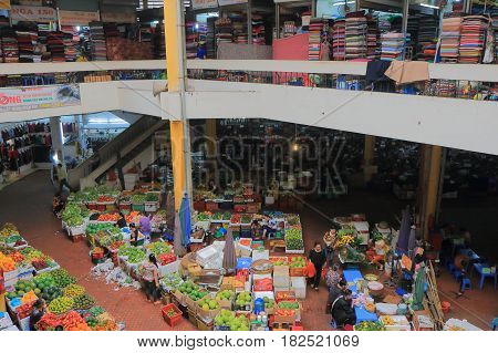 HANOI VIETNAM - NOVEMBER 22, 2016: Unidentified people visit CHO HOM market. CHO HOM market is an old fashioned local market.