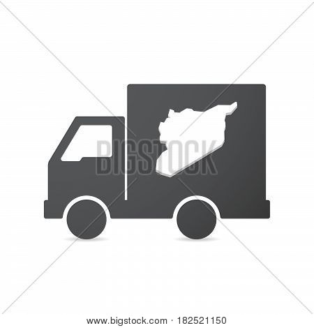 Isolated Truck With  The Map Of Syria