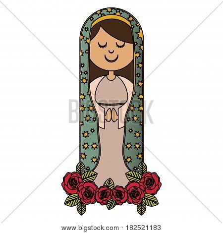 white background of colorful virgin of guadalupe with ornament of roses and mantle with stars vector illustration