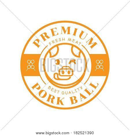 premium pork ball guarantee logo with pig stick out tongue illustration
