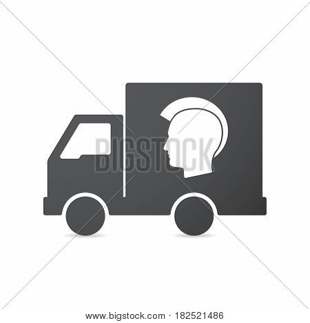 Isolated Truck With  A Male Punk Head Silhouette