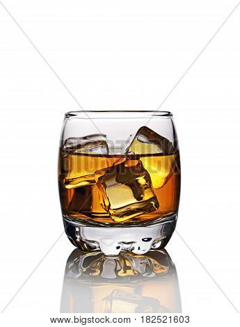 Glass Of Scotch Whiskey With Ice Cube