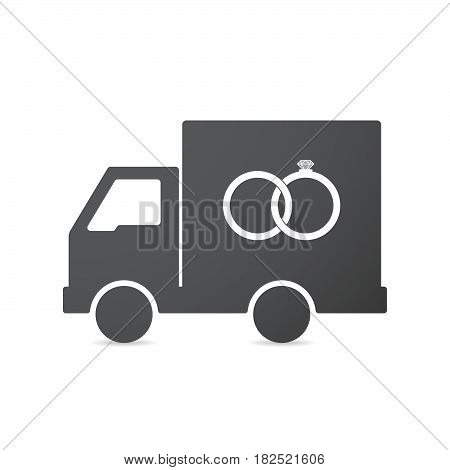 Isolated Truck With  Two Bonded Wedding Rings