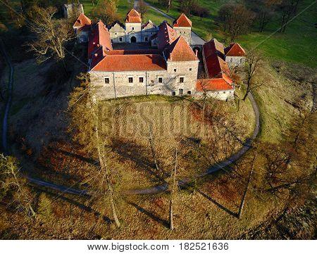 Aerial photo of the old Svirzh castle Ukraine