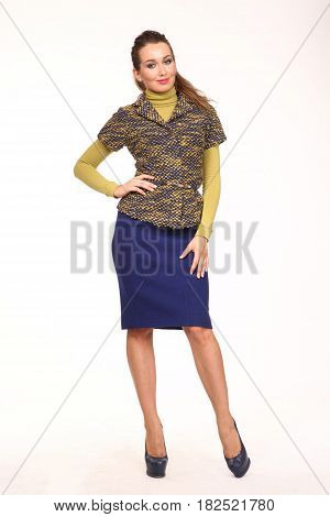 Business Woman In Formal Clothes Isolated On White