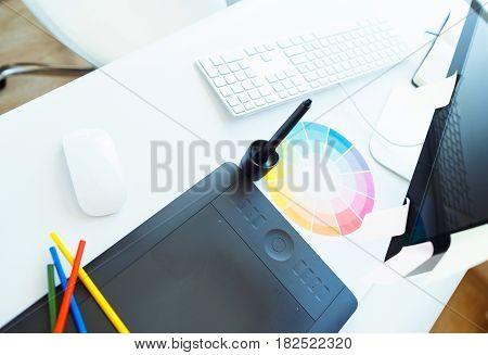 Workplace creative person close up - a modern business concept