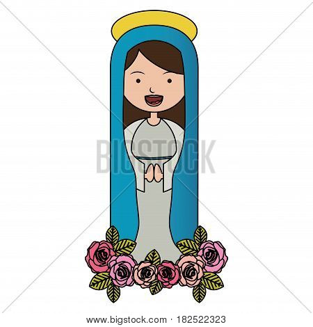 white background of colorful pretty christian virgin and ornament of pink roses vector illustration