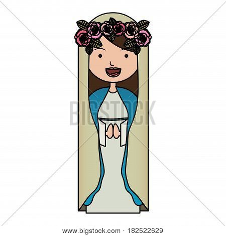 white background of colorful beautiful virgin with crown of roses vector illustration