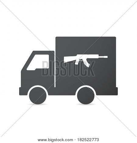 Isolated Truck With  A Machine Gun Sign