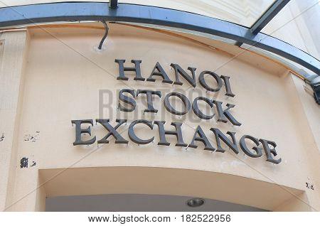 HANOI VIETNAM - NOVEMBER 22, 2016: Hanoi Stock Exchange. Hanoi Stock Exchange NHX was the second securities trading center to open in Vietnam.