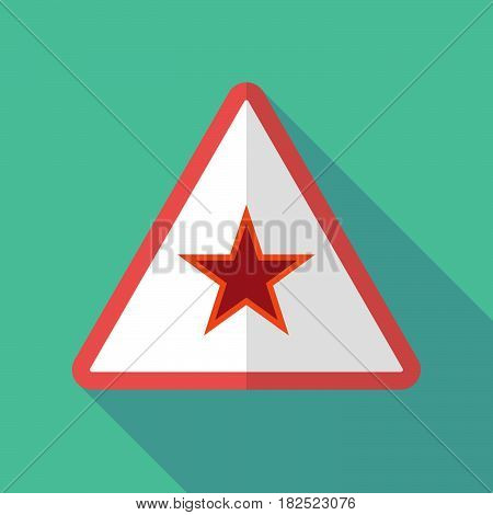 Long Shadow Warning Sign With  The Red Star Of Communism Icon