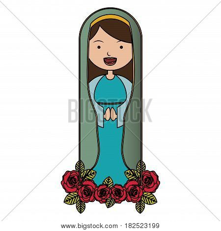 white background of colorful beautiful virgin with ornament of roses vector illustration