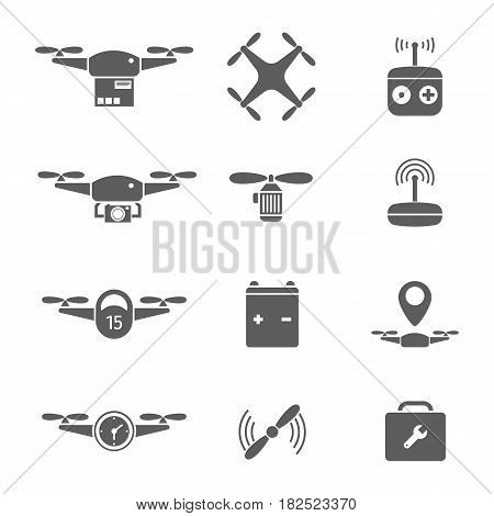 Drones Icon Vector. Battery, remote control flat isolated on white background. Quadrocopters - stock vector.