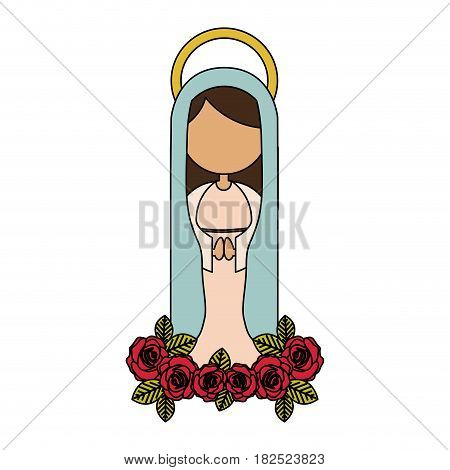white background of colorful faceless virgin of guadalupe with light blue mantle and red roses vector illustration