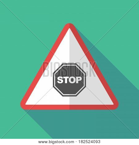 Long Shadow Warning Sign With  A Stop Signal