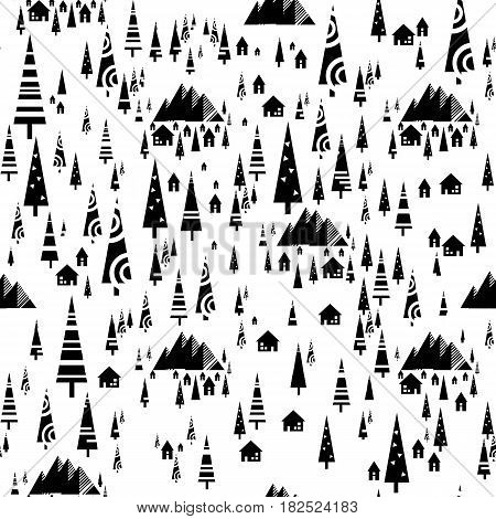 Scandinavian seamless interior pattern with fir-tree. Geometric abstract background. Stock vector.
