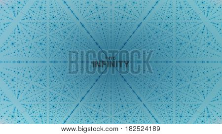 Vector infinite space background. Matrix of glowing stars with illusion of depth, perspective. Geometric backdrop with point array as lattice. Abstract futuristic universe on light blue background.