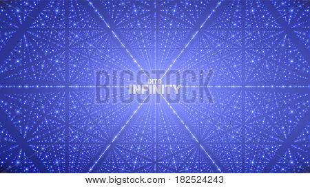 Vector infinite space background. Matrix of glowing stars with illusion of depth, perspective. Geometric backdrop with point array as lattice. Abstract futuristic universe on blue background.