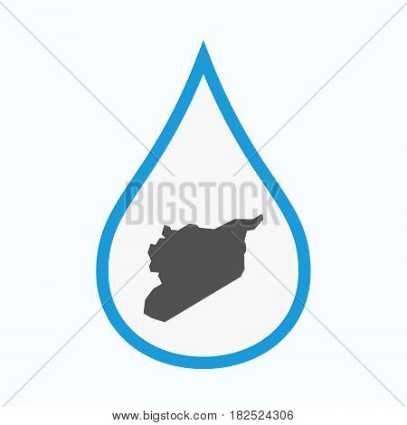 Isolated Water Drop With  The Map Of Syria