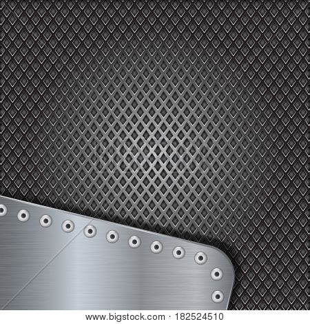 Iron perforated background with metal brushed element with rivets. Vector 3d illustration