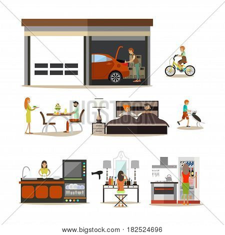 Vector icons set of modern house and garage with family characters and pets isolated on white background. Flat style design elements.